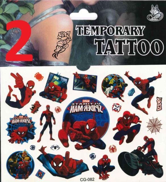 Spiderman//Cars//Spongebob//Batman Tattoo für Kinder Mitgebsel Kindergeburtstag