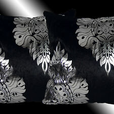 """2X SHINNY BLACK THICK VELVET SILVER DAMASK THROW PILLOW CASES CUSHION COVERS 17"""""""