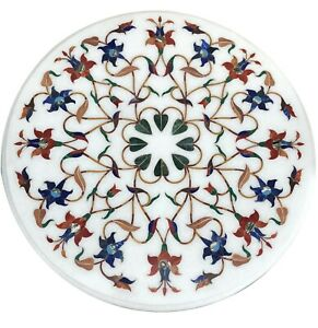 White Marble Coffee Table Top Mosaic Multi Stone Floral Inlay Art Home Deco W085