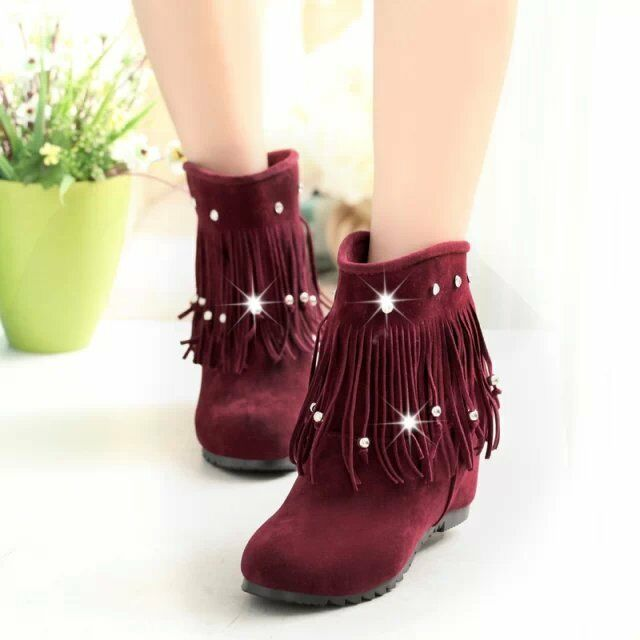 Women Ankle Boots Tassel Rhinestone Round Toe Hidden Wedge Heel Fashion Booties
