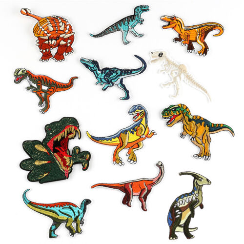 12Pcs Dinosaur Embroidery Sew On Iron On Patch Badge Bag Clothes Applique Craft