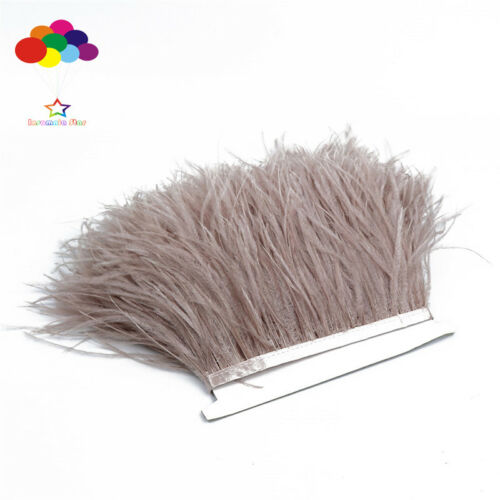 Light Coffee 1//5//10 Meter Ostrich Feather Cloth Trims 3.15-6Inch//8-15Cm Carnival