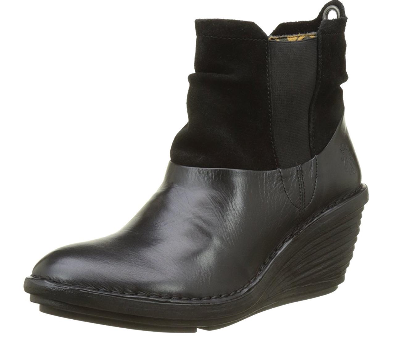 Fly London SULA BLACK Womens Boots Heel Wedge US 10-10.5 EU 41