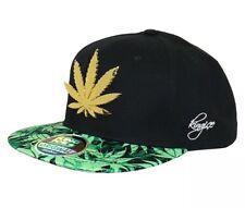 Black Weed Gold Leaf Metal Badge SnapBack Kush Pot Cannabis