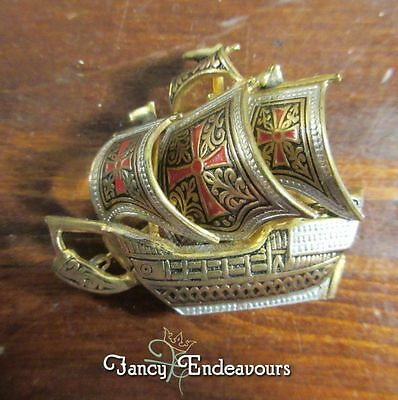 Damascene Tall Sailing Ship Pin Niello Toledo Spain Brooch