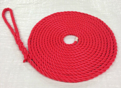 14mm FLOATING MOORING  ROPES SOFT EYE SPLICED 3 STRAND RED IN PAIRS X 8MTS