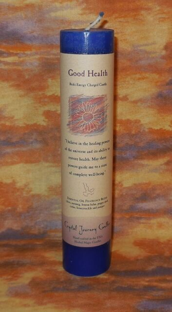 """Good Health Health Pillar Candle NEW Crystal Journey Reiki Charged Healing 7"""" T"""