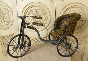 Miniatur-Rikscha-Dreirad-Kutsche-Fahrrad-Blumenstaender-Puppen-Rattan