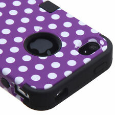 iPhone 4 4S - Purple Black Polka Dot Armor Impact Hard & Soft Rubber Case Cover