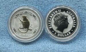 2004-Australia-Lunar-Year-of-the-Monkey-1oz-Silver-Gold-Gilded-Coin-in-capsule