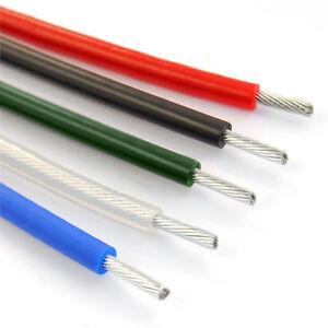 100m DRAHTSEIL in PVC 5mm auf 8mm 6x7 Seil BLAU