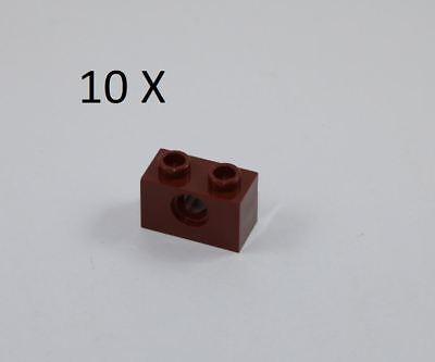 LEGO Parts~Technic, Brick 1 x 2 with Hole 3700 REDDISH BROWN 10