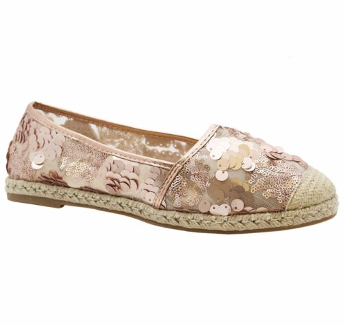 Ladies Womens Flat Sequin Slip On Espadrilles Sandals Ballerina Pumps Shoes Size