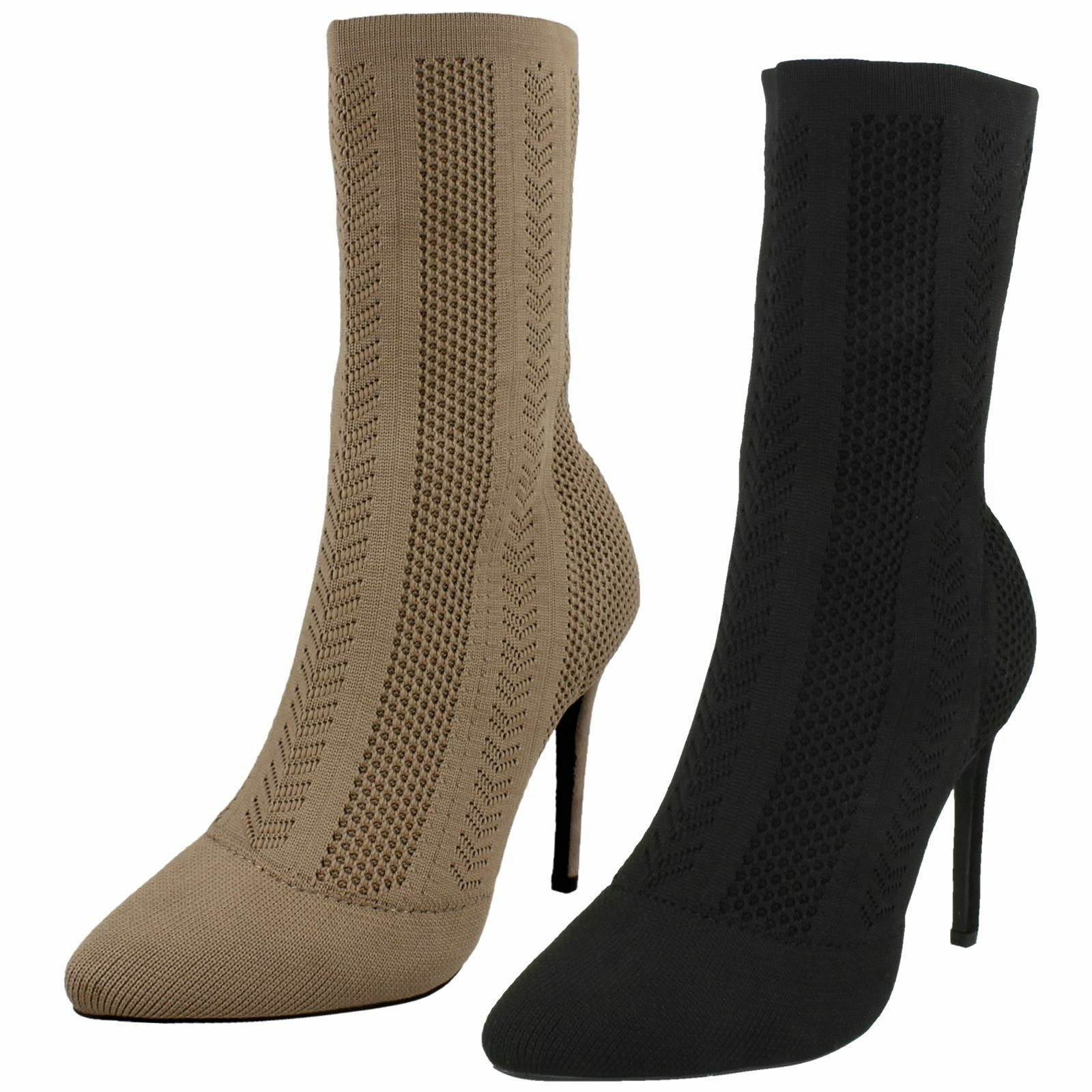 Ladies Anne Michelle High Heel Knitted Calf Boots
