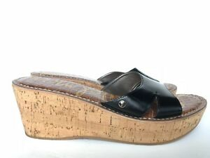 87fd8496190a Sam Edelman Platform Cork Wedge Black Reid Sandals Women s Size 10 M ...