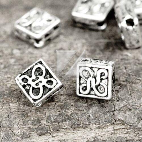 250 un Metal encanto granos tibetano plata separador suelto un montón de joyas 4.5x4.5x2.5mm