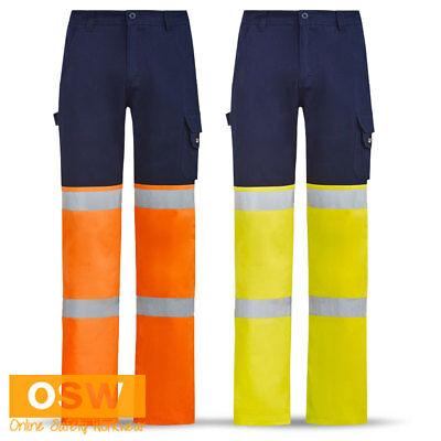 3 X MENS NAVY//HI VIS YELLOW BIOMOTION QLD TRAFFIC CONTROLLER WORK CARGO PANTS