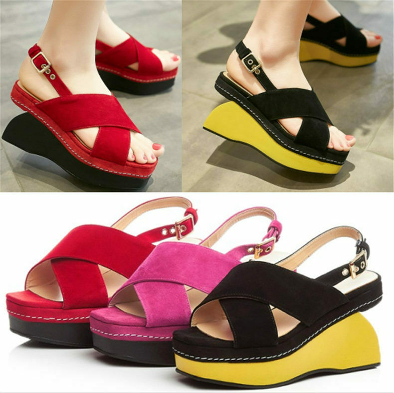 Women Suede Leather Pumps Sandals Buckle Platform Wedge High Heels Open Toe