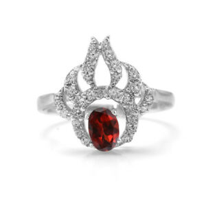 Garnet-925-Sterling-Silver-Ring-Red-Natural-Gemstone-Size-4-5-6-7-8-9-10-11