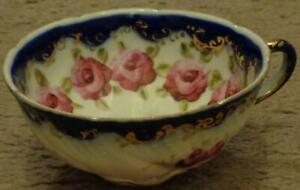 Antique-Bone-China-Blue-on-White-Footed-Teacup-Hand-Painted-Embossed-VGC