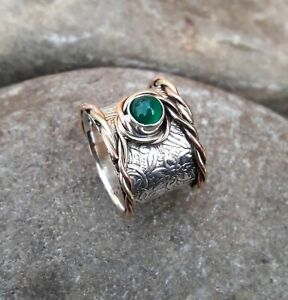 Green-Onyx-Solid-925-Sterling-Silver-Band-Ring-Statement-Ring-Size-M433