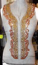 gold bronze sequin bridal wedding embroidery lace applique abaya kameeze asian