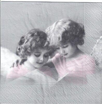 Girls vintage black /&white 4 Single paper decoupage napkins Sagen- 617