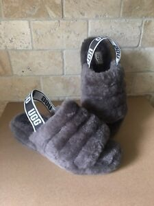 091a447a03e Details about UGG CHARCOAL FLUFF YEAH SLIDE SHEEPSKIN SLINGBACK SHOES  SLIPPERS SIZE 7 WOMENS