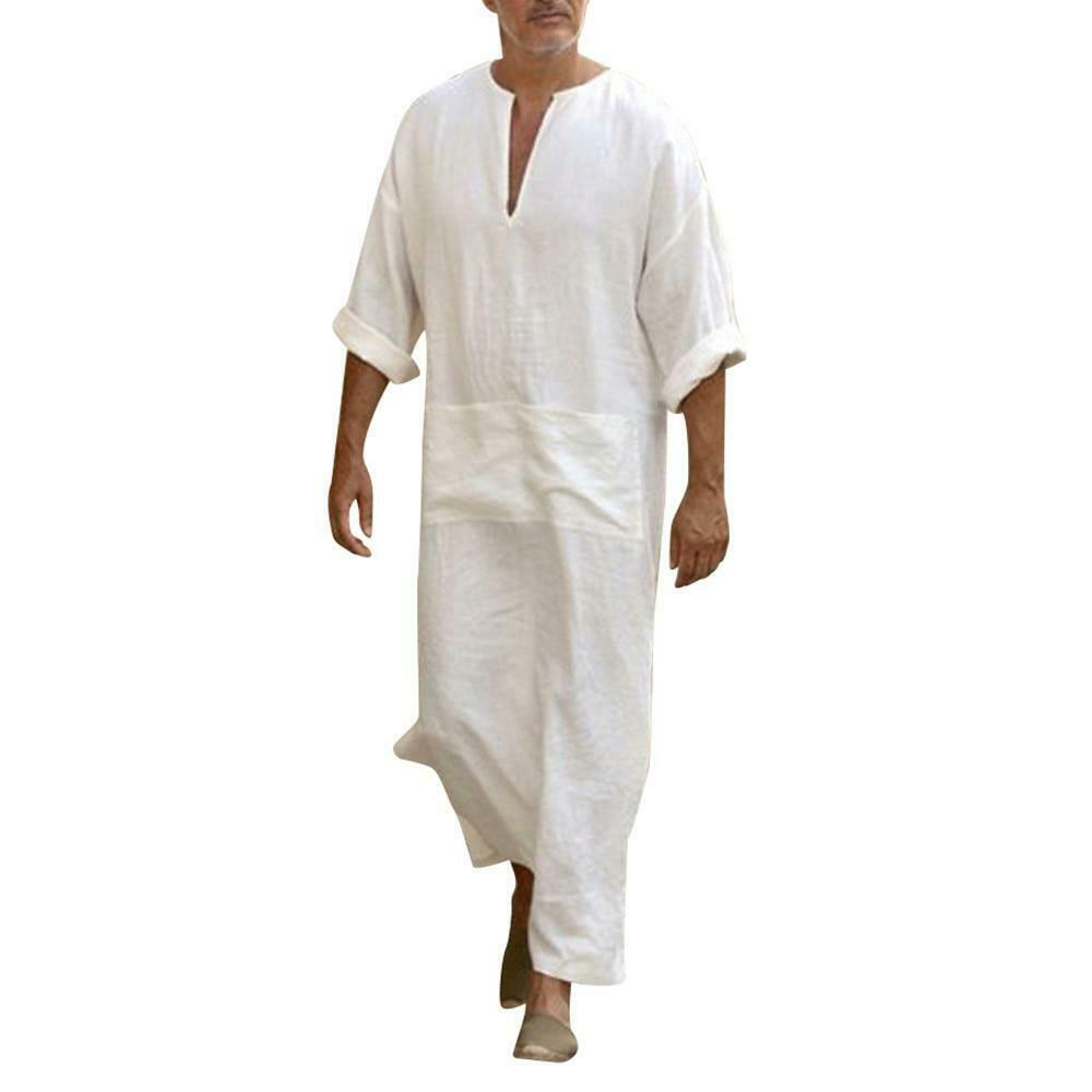 Muslim Men's Long Sleeve Loose jalabiya