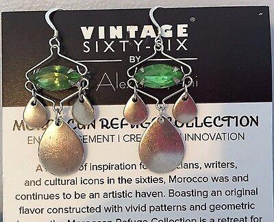 Alex and Ani ~ Kasbah Marquise Cut Green Crystal Dangle Hook Back Earrings