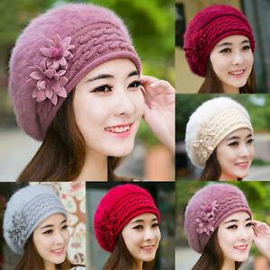 Women Rabbit Fur Winter Warm Knitted Beret Beanie Hat Ladies Crochet ... c4a581e81fa