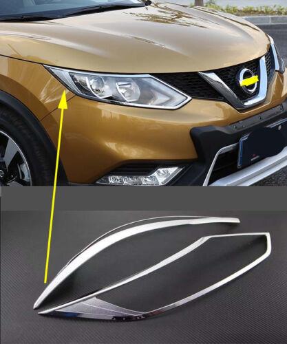 Chrome Front Head Light Lamp Cover Trim for 2014-2018 Nissan Qashqai Rogue Sport