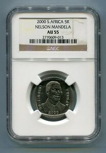 South-Africa-Year-2000-5R-Nelson-Mandela-R5-NGC-Certified-AU55-Collectible-Coin