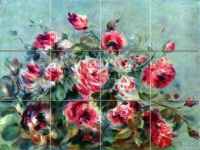 Art Renoir Flowers Tumbled Marble Mural Bath Backsplash Tile #1844