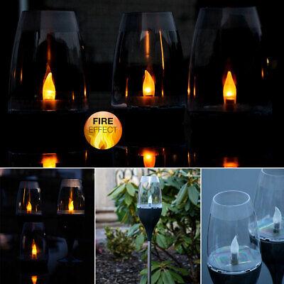 LED Außen Tisch Leuchte SOLAR Steh Hänge Lampe Feuer-Effekt Garten Strahler weiß