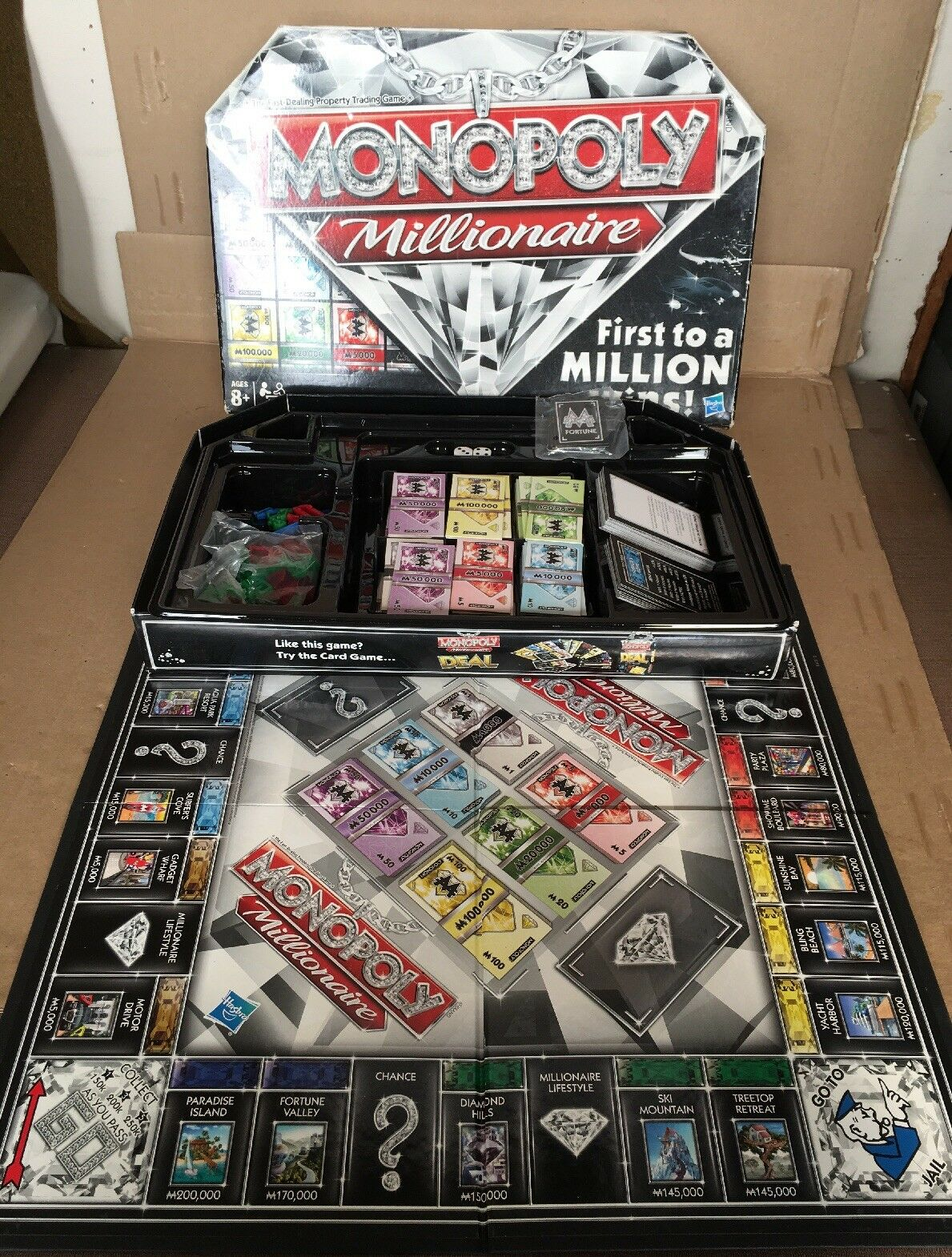 Monopoly Millionaire Game INCOMPLETE FOR PARTS PIECES  DISPLAY
