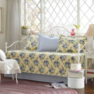 Daybed-Cover-Set-Blue-Flower-Yellow-Base-5-Piece-Cotton-Bed-Quilted-Bedding