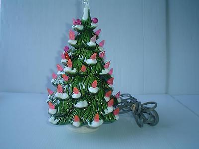 Vintage 12 Holland Mold Lighted Flocked Ceramic Christmas Tree 2
