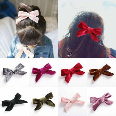 "5/"" Fashion Kids Velvet Bow Hair Clips Alligator Barrettes Multi-color Hairpins"
