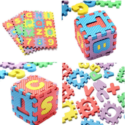 36pc Puzzle IQ Brain Toy Foam Floor Alphabet & Number Puzzle Mat For Kids HI