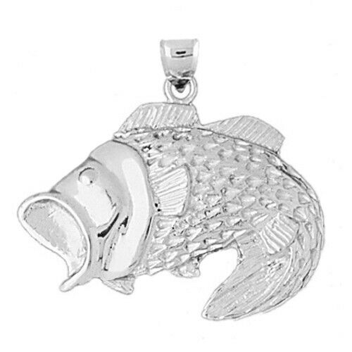 Details about  /New Rhodium Plated 925 Sterling Silver 33MM Open Mouth Bass Charm Pendant