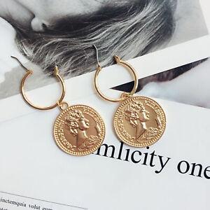 Fashion-Women-Retro-coin-Round-Earring-Statement-Hoop-Earrings-Dangle-Jewelry