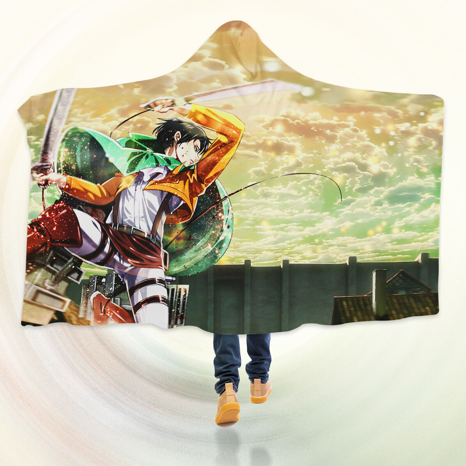 3D Attack On Titan Warrior I05 Hooded Blanket Cloak Japan Anime Cosplay Game An