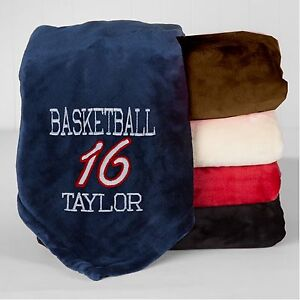 personalized monogrammed throw blanket w embroidery basketball
