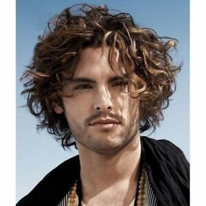 Fashion Short Toupee Blonde Highlight No Bang Fluffy Curly Capless