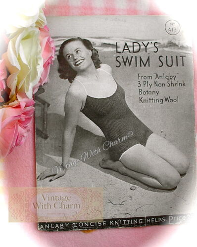 """Vintage 1940s Knitting Pattern Instructions Lady/'s /""""On Vacation/"""" Swimsuit"""