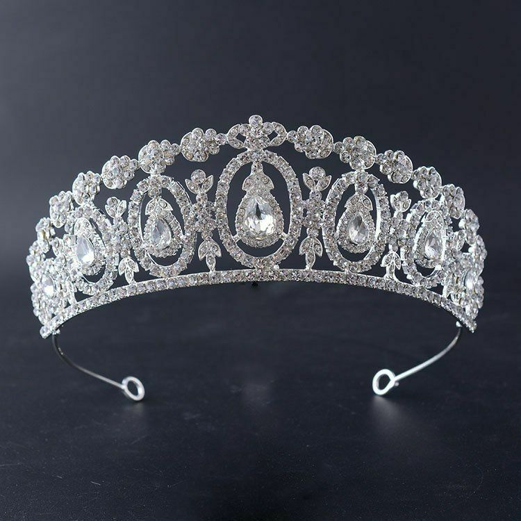 Crystal Tiara Crown Rhinestone Bride Hair Bridal Wedding Pageants Queen Headband