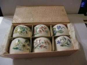 Seis-Vintage-Pintado-a-Mano-Ceramica-Servilleta-Anillos