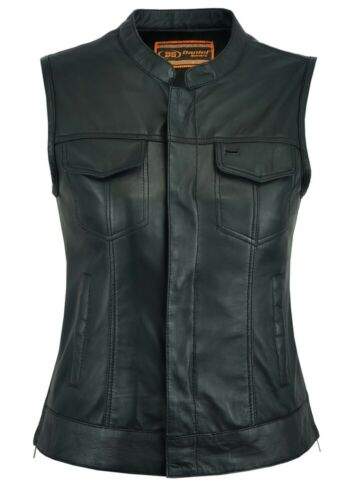 DS287 Ladies Club Style Leather Vest