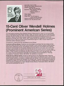 USPS-1978-First-Day-Issue-Souvenir-Page-15-Cent-Oliver-Wendell-Holmes